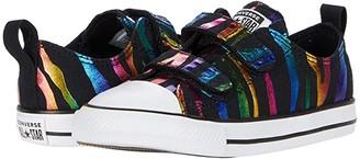 Converse Chuck Taylor(r) All Star(r) 2V Zebra Foil - Ox (Infant/Toddler) (Black/Black/White) Girl's Shoes