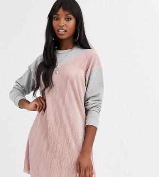 Asos Tall DESIGN Tall long sleeve plisse mix sweat dress-Grey