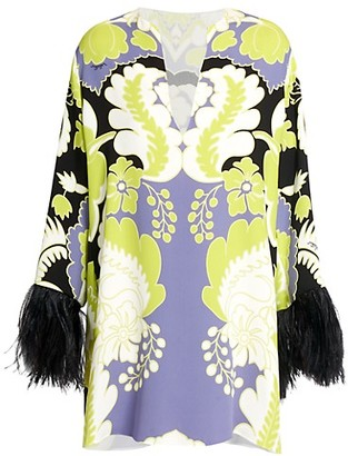 Valentino Tapestry Feather-Trimmed Silk Mini Dress
