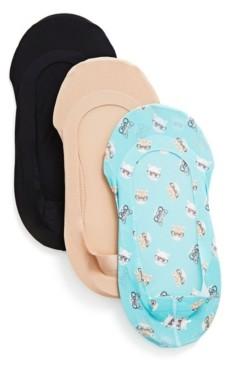Me Moi Studious Cats Fine Edge Liner Socks, Pack of 3