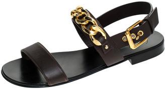 Giuseppe Zanotti Dark Brown Leather Jason Sling Buckle Flat Sandals Size 41