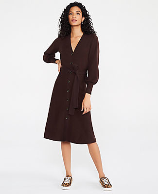 Ann Taylor Button Front Sweater Dress
