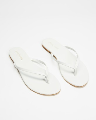 Atmos & Here Atmos&Here - Women's White All thongs - Palm Leather Thongs - Size 5 at The Iconic