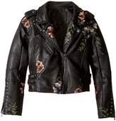Blank NYC Kids Floral Vegan Leather Moto Jacket (Big Kids)
