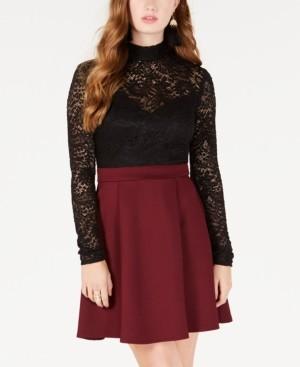 B. Darlin Juniors' Lace-Top Fit & Flare Dress