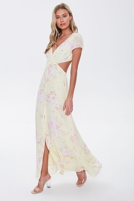 Forever 21 Floral Print Cutout Maxi Dress