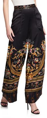 Camilla Cuffed Printed Silk Lounge Pants