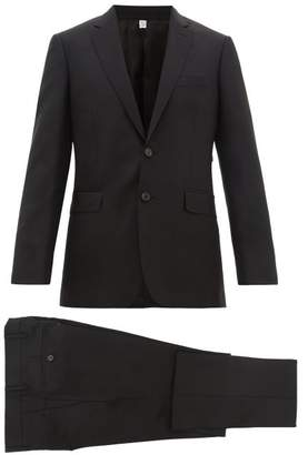 Burberry Two Piece Single Breasted Wool Blend Twill Suit - Mens - Black