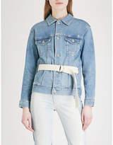 AG Jeans Nancy belted stretch-denim jacket