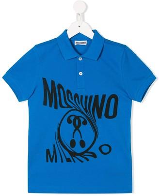 MOSCHINO BAMBINO Logo Print Polo Shirt