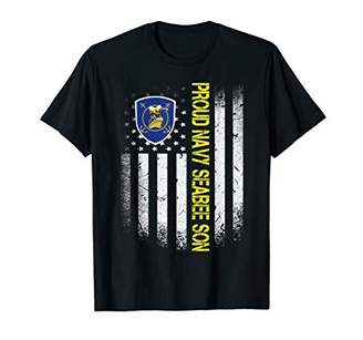 Flag USA Proud US Navy Seabee Son US Military Family Gift T-Shirt