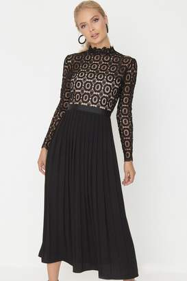 Little Mistress Alice Black Crochet Top Midaxi Dress With Pleated Skirt