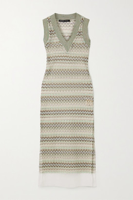 ANDERSSON BELL Jessica Silk Crepon-trimmed Crochet-knit Midi Dress - Gray