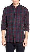 French Connection Men's Trim Fit Flannel Plaid Sport Shirt