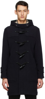 Burberry Navy Wool Check-Lined Duffle Coat