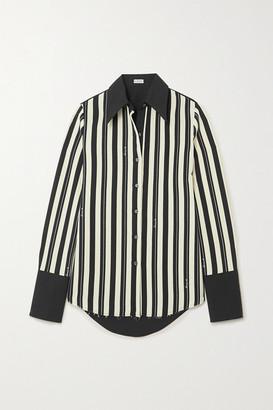 Loewe Striped Wool-twill And Cotton-poplin Shirt - Black