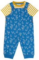 John Lewis Nautical Dungaree and T-Shirt Set, Blue/Yellow