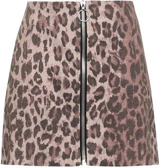Nicholas Zip-detailed Leopard-print Stretch-cotton Twill Mini Skirt