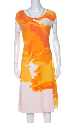 Escada Sunset Orange Fantasy Print Pique Knit Shaleesa A Line Dress L