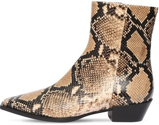 AEYDĒ 40mm Ruby Snake Print Leather Boots