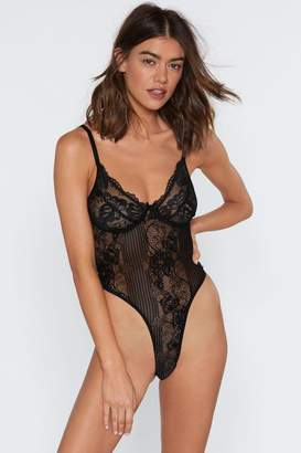 Nasty Gal Womens Lace Orders Cupped Bodysuit - Black - M