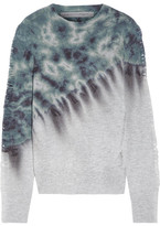 Raquel Allegra Distressed Tie-dyed Merino Wool And Cashmere-blend Sweater - Blue
