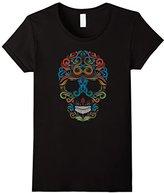 Women's Paisley Skull Novelty T-Shirt Classic Look Large