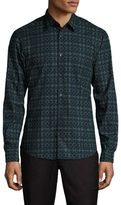 Z Zegna Geometric Printed Spread Collar Dress Shirt