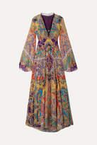 Etro - Lace-trimmed Fil Coupé Silk-blend Chiffon Maxi Dress - Purple