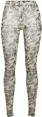 Stefano Mortari Floral-Print Sheer Leggings