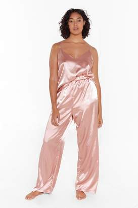 Nasty Gal Womens The Sleepover Club Plus Satin Pyjama Set - pink - 16
