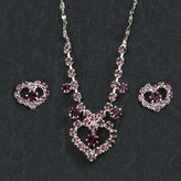 Gc Handcrafted Silver and Purple Crystal Heart Necklace and Earrings Set