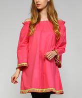 Simply Boho La Simply Boho LA Women's Casual Dresses PINK - Pink Fringe-Trim Bell-Sleeve Off-Shoulder Dress - Women & Plus