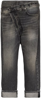 R 13 Stonewashed Straight-Leg Jeans