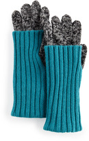 Fold-Over Cuff Smart Gloves, Black/Turquoise