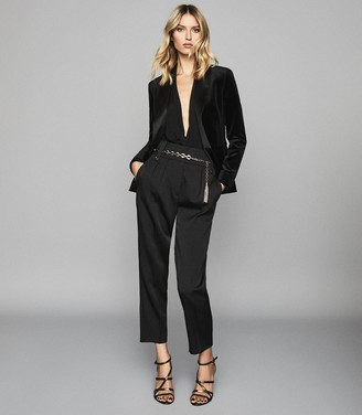 Reiss Vixena - Velvet Blazer in Black