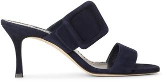 Manolo Blahnik Gable 70 navy suede sandals