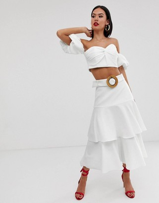 Forever New tiered belted skirt in white