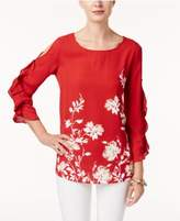 Alfani Printed Ruffled-Sleeve Top, Created for Macy's