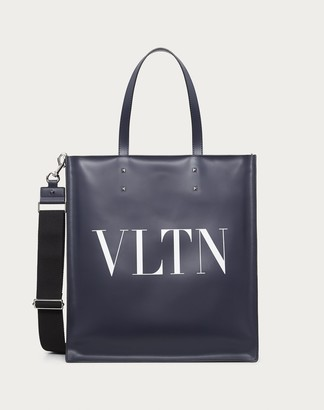 Valentino Garavani Uomo Leather Vltn Tote Man Blue Bovine Leather 100% OneSize