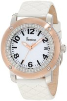 Freelook Women's HA1812RG-9 White Leather Band Matt White Dial Rose Gold Case Watch