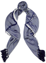 Chloé Tasseled Silk And Wool-blend Scarf - Midnight blue