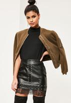 Missguided Petite Black Lace Hem Faux Leather Mini Skirt