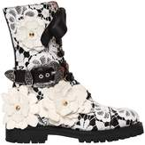 Fausto Puglisi 30mm Lace & Leather Combat Boots