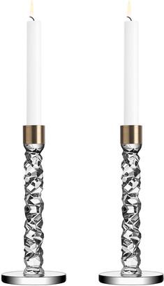 Orrefors Carat Brass Candlesticks, Set of 2