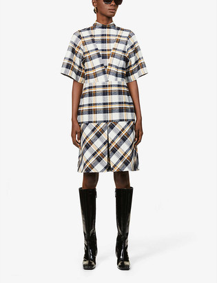 Victoria Beckham Checked cotton mini dress