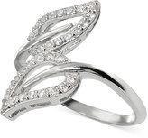 Giani Bernini Cubic Zirconia Pavé Leaf Bypass Ring in Sterling Silver, Only at Macy's