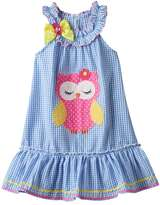 Nannette Girls 4-6x Nanette Seersucker Sleeveless Dress With Applique Detail