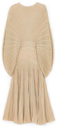 Stella McCartney Metallic Knit Sunburst Midi Dress