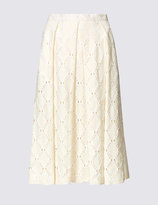 Marks and Spencer Cotton Blend Lace Pleated Skater Midi Skirt
